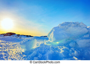 Ice in Greenland in spring time - Ice and sun in Greenland...