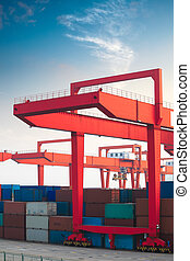 crane in container terminal - closeup of the crane in...