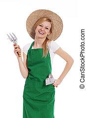 hembra, granjero, tenencia, jardinería, equipo