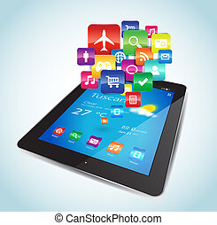 Tablet Apps - This vector image represents a Tablet with...