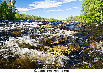 Rapids on a river - Close-up shot of rapids on the Pistojoki...