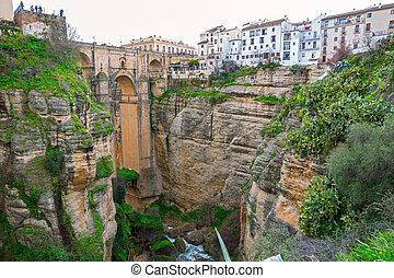 Ronda, Spain - Bridge and the old city of Ronda,Malaga,...