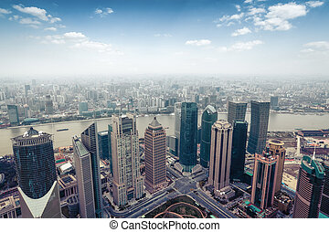 aerial view of shanghai in daytime