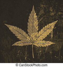 Cannabis leaf grunge icon. With stained texture, vector