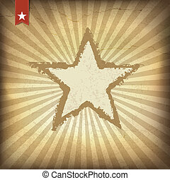 Retro brown sunburst background with star. Vector illustration,
