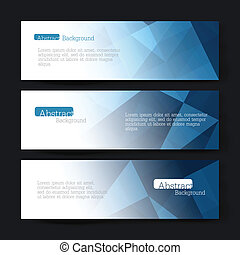 Collection of three horizontal banner designs, abstract blue...
