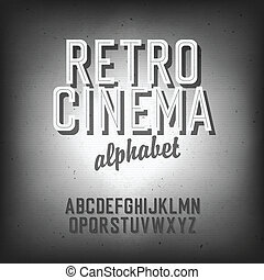 Old cinema styled alphabet. With textured background,...
