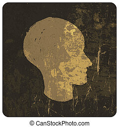 Grunge illustration of head silhouette. Vector
