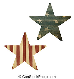 Two stars, American flag themed. Holiday design elements, isolated on white.