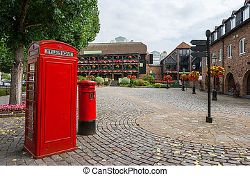 St Katharine's Dock. London, England - Red phone booth and...