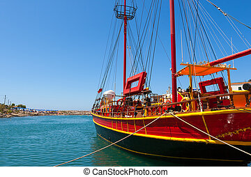 Sailing ship. Sissi, Crete, Greece - Sailing ship moored in...