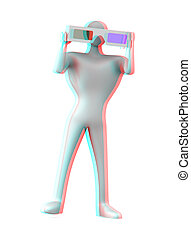 Stereoscopic image of 3d person with 3d glasses