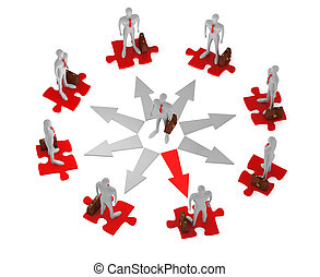 3d businessman before a choice surrounded by 3d persons with briefcases on the puzzles in the circle