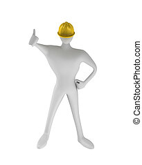 3D construction worker with thumbs up