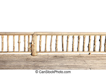 wooden terrace isolated on white background with clipping...