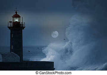 Stormy night - Big wave breaking over lighthouse in an...