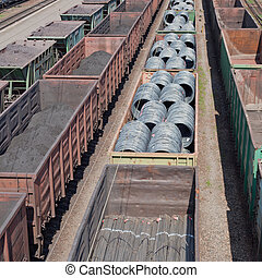 Freight trains - Cargo transportation, freight trains with...