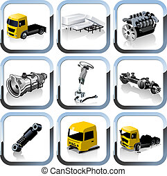 truck spares icons set Available EPS-10 separated by groups...