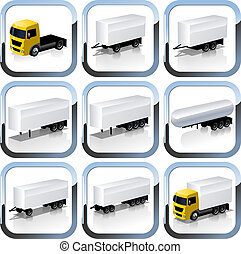 Truck Trailaers Icons Set. Available EPS-10 vector format...