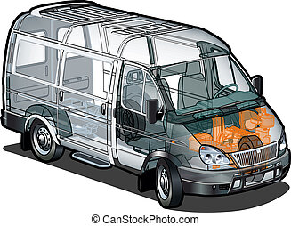 mini bus ifographics cutaway - delivery cargo van...