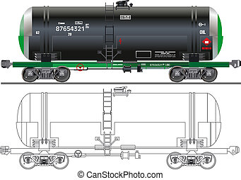 Oil gasoline tanker car - Oil gasoline railway tanker car...