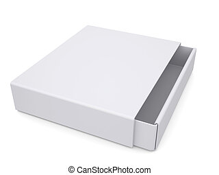 Open white box Isolated render on a white background