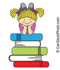 girl with many books