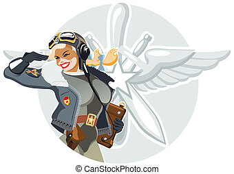 retro military pin-up - Vector retro military pin-up...