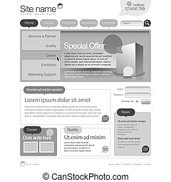 Gray Website Template 960 Grid.  eps 10