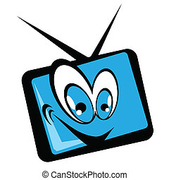 tv set cartoon with a blue screen eps 10