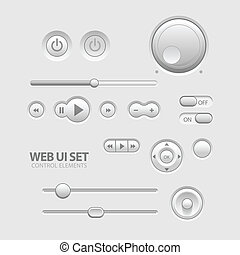 Light Web UI Elements Design Gray Elements: Buttons,...