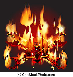 Metal Jolly Roger in flame - Vector Metal Jolly Roger in...