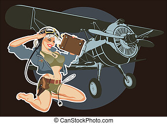 Retro military pin-up - Vector military pin-up Available...