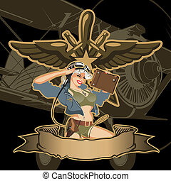 Vector retro military pin-up Available EPS-8 vector format...