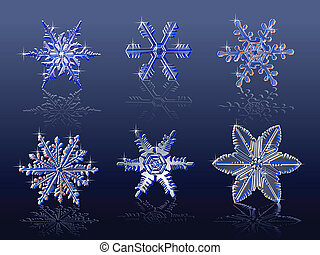 snowflakes on blue background - Vector real snowflakes...