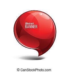 Estratto, rosso, baluginante, vetro, bandiera