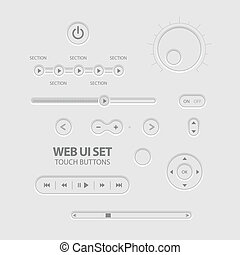 Light Web UI Elements Design Gray. Elements: Buttons,...