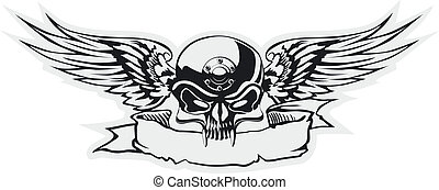 skull with wings at gray basis - Vector skull with wings at...