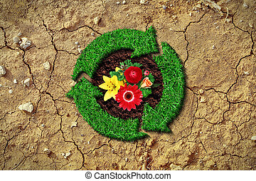Recycle concept with flowers