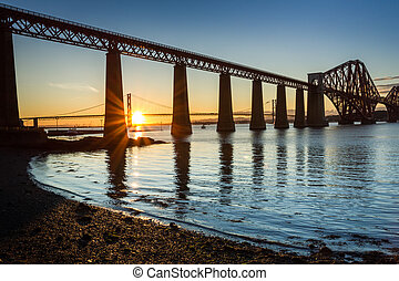 Sunset between the two bridges in Scotland