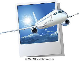 commercial airplane. Available EPS-8 vector format separated...