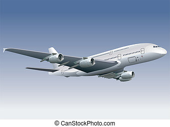 Double-deck airplane a-380. Available EPS-8 vector format...