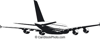 silhouette of passenger jetliner a380 Available EPS-8 vector...