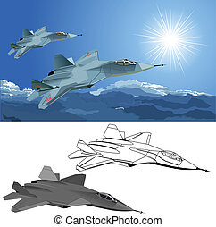 modern stealth fighter Available EPS-8 vector format...