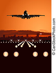 Airliner landing at skyline Available EPS-10 vector format...