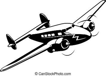 caricatura, retro, avião