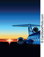 Airplane - airplane at sunrise. Available EPS-8 vector...