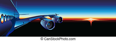 passenger aircraft at sunrise. Available EPS-8 vector format...