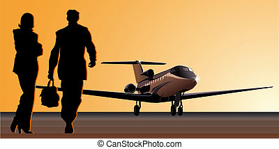 business-jet at aerodrome. Available EPS-8 vector format...