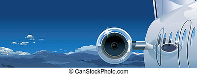Business Jet at the Sky. Available EPS-8 vector format...